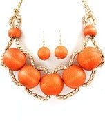 Image of Orange Wooden Bead Necklace Set