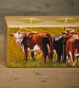 Image of ' Grazing the Fenceline' Low Tealight Holder