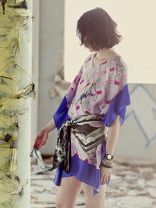 Image of Mantis & Moth printed kaftan (blue)