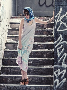 Image of Pastel fleurs Maxi dress (purple)