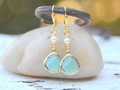 Image of Aqua Teardrop and White Swarovski Pearl Dangle Earrings in Gold - EFA021