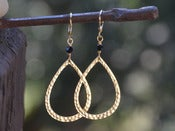 Image of Gold Teardrop and Black Crystal Dangle Earrings - EFA013