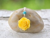 Image of Bright Yellow Rose and Turquoise Dainty Summer Necklace - NC018