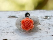 Image of Dainty Coral Orange Rose and Black Crystal Beaded Necklace - NC019