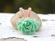 Image of Aqua Sea Foam Cabbage Rose and Cherry Quartz Beaded Necklace - NC022