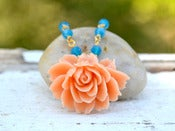 Image of Vintage Style Peach Cabbage Rose and Blue Opal Swarovski Crystal Beaded Necklace in Gold - NC023