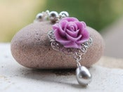 Image of Purple Rose and Grey Swarovski Pearl Teardrop Necklace - NC028