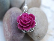 Image of Magenta Rose and Swarovski Pearl Necklace - NC029
