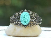 Image of Vintage Style Turquoise Floral Bouquet Cameo Cuff Bracelet in Antique Brass - BC001