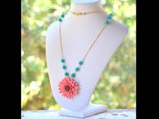 Image of Opera Length Bright Coral Flower Necklace with Teal Jade in Gold - NF002