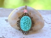 Image of Vintage Style Turquoise Floral Cameo Necklace with Cherry Quartz in Antique Brass - NF005