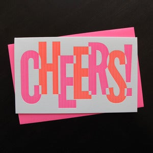 Image of 1511B - cheers to you letterpress new years / holiday card - set of 6