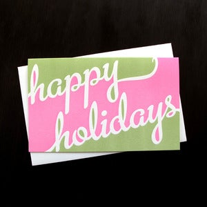 Image of 1527B - two-tone holidays letterpress card - set of 6