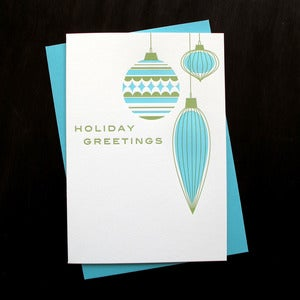 Image of 1501B - holiday ornaments letterpress card - set of 6