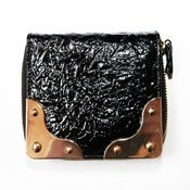 Image of Crinkle Patent Single Zip Wallet