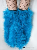 Image of Thigh high fluffies superpoof turquoise