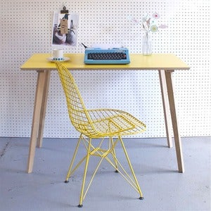 Image of Perky Formica Table / Desk in Yellow