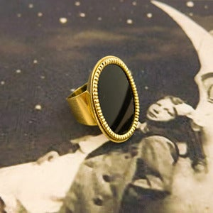 Image of Vintage Gold & Onyx Mid Century Ring
