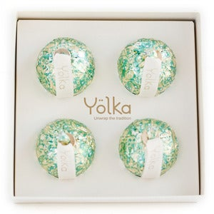 Image of Four Teal Foil Ornaments <br> in a White Gift Box