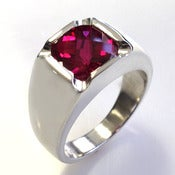 Image of Mens Custom Antique-Style Cushion Cut Ruby Ring in Silver