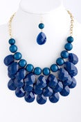 Image of Navy J. Crew Inspired Droplet Necklace and Earring set