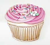 Image of JUMBO Pink Buttercream frosted Cupcake wood diecut