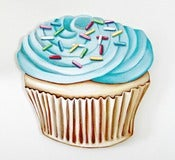 Image of JUMBO Blue Buttercream frosted Cupcake wood diecut