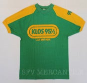 Image of Vintage 1970s KLOS 95  L.A.S BEST ROCK, CHAMPION &quot;Blue Bar&quot; 50% Poly 50% Cotton Tee Medium
