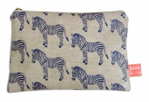 Image of 'Zebra Surprise' Oilcloth Cosmetic Purse
