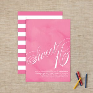 Image of Cotton Candy Sweet 16 Invitations
