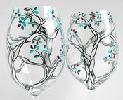 Image of Black and White Trees with Custom Colored Leaves-Set of 2 Hand Painted Wine Glasses