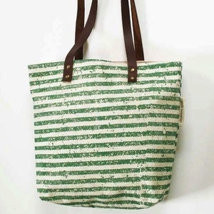 Image of Green Stripey Silkscreened Tote Bag