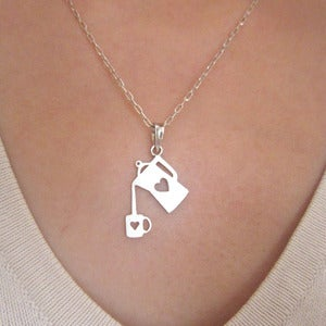 Image of Coffee Necklace for coffee lovers- Handmade Silver Heart Necklace