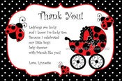 Image of Ladybug Party Baby Shower Thank You Card DIY Printable jpeg file