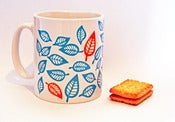 Image of Leafy teal blue and orange mug