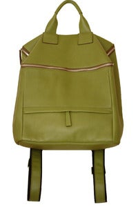 Image of 'Leap Year' Apple Green Leather Backpack