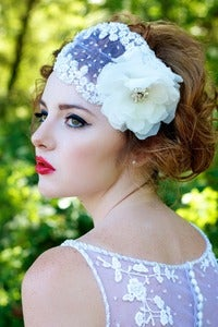 Image of MARCELLE-Beaded Bridal Bandeau with Silk Chiffon Flower