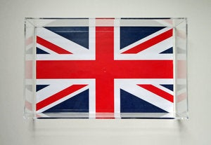 Image of Union Jack Lucite Tray with Handles