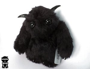 "Image of Raar Noir! Black 12"" plush monster Raar with black horns, claws and eyes."
