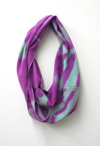 Image of mint/purple chevron shibori cowl