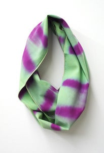 Image of sage purple chevron shibori cowl