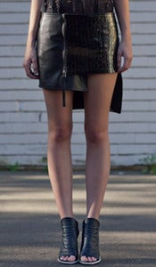 Image of GRAPHITE leather skirt