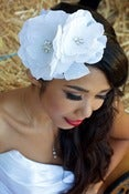 Image of ELOISE-Silk Dupioni Flower and Crystal Fascinator