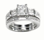 Image of  Emerald cut Band CZ Engagement ring Wedding Band , Anniversary ,  Sterling Silver Jewelry