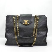 Image of NEVER USED Chanel Black Quilted Lambskin Supermodel Tote Bag