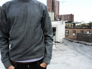 Image of inside out denim sweater