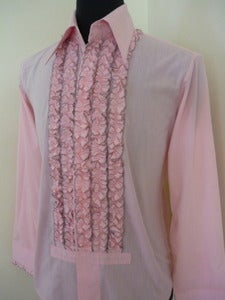 Image of 70s pink ruffled bib tuxedo shirt
