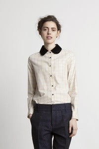 Image of Silk Velvet Collar Cotton Shirt<br>- was £160 -