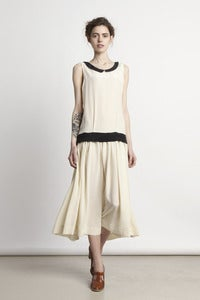 Image of Silk Drop-Waist Dress with Velvet Cape - Ivory<br>- was £360 -