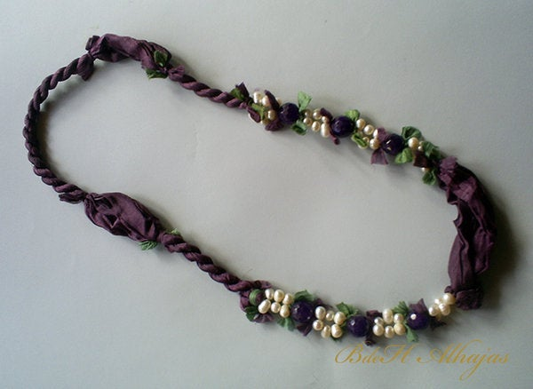 Image of Collar Agatas y Perlas Morado